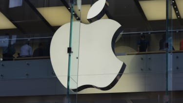 The Apple logo at a store in Sydney