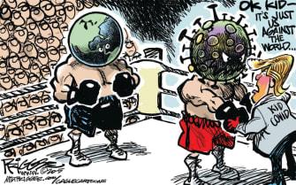 Political Cartoon U.S. Trump coronavirus
