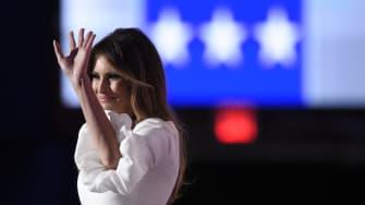 Melania Trump waves at the RNC