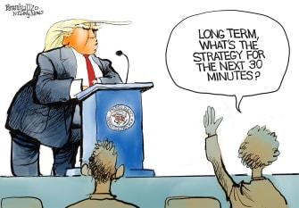 Political Cartoon U.S. coronavirus briefing Trump no strategy