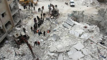 The aftermath of an airstrike in Idlib, Syria.