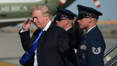 President Trump and military aides.