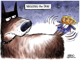 Political Cartoon U.S. Dog Wagging The Don Trump