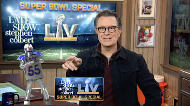 Stephen Colbert hosts a Super Bowl party