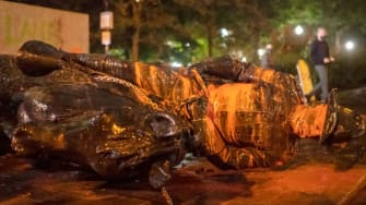 Toppled Theodore Roosevelt statue in Portland, Oregon.