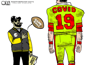 Editorial Cartoon U.S. COVID Steelers Ravens NFL