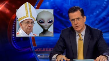 Stephen Colbert disagrees with Pope 'Moonbeam' Francis on alien baptism