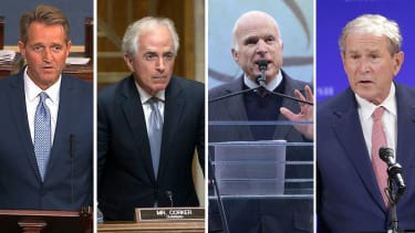 Sens. Jeff Flake, Bob Corker, John McCain, and former President Bush.