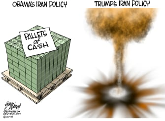 Political Cartoon U.S. Obama Trump Iran Policy Comparison