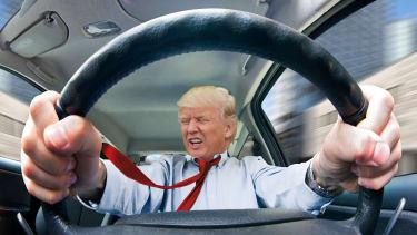 President Trump loses control of car.