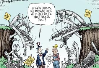 Political Cartoon U.S. gop democrat divide