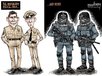 Editorial Cartoon U.S. Andy Griffith Mayberry Police Federal Agents Portland