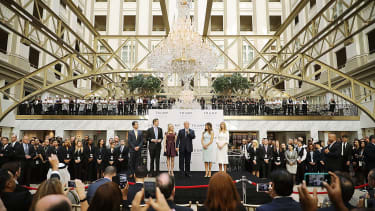 Donald Trump at the ribbon-cutting for his hotel in Washington, D.C.