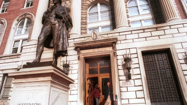 Students protested the statue of Thomas Jefferson at Columbia University.