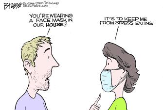 Editorial Cartoon U.S. wear mask inside stops stress eating