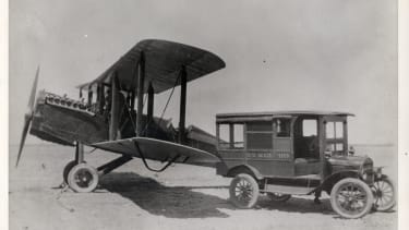 A U.S mail truck and airplane in 1922.