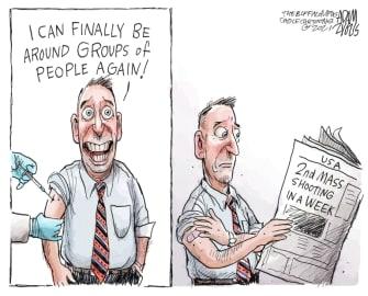 Editorial Cartoon U.S. covid vaccine mass shooting