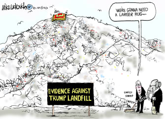 Political Cartoon U.S. GOP Evidence Against Trump Mitch McConnell Landfill