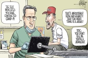 Political Cartoon U.S. Fox News Hannity Coronavirus denial testing right-wing