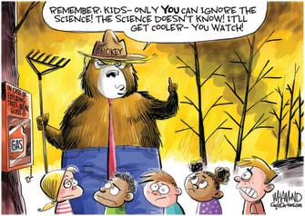 Political Cartoon U.S. Trump wildfires smokey the bear