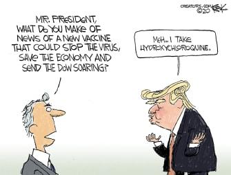 Political Cartoon U.S. Trump hydroxychloroquine moderna vaccine coronavirus