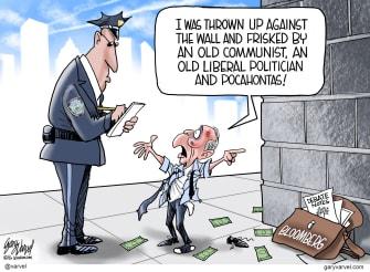 Political Cartoon U.S. Michael Bloomberg Bernie Sanders Elizabeth Warren democratic primaries stop and frisk debate