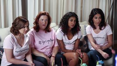 Rachel Bloom as Rebecca, Donna Lynne Champlin as Paula, Vella Lovell as Heather and Gabrielle Ruiz as Valencia.