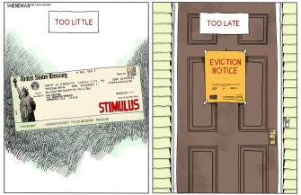 Editorial Cartoon U.S. COVID stimulus relief evictions