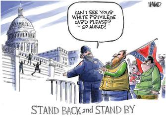Political Cartoon U.S. Trump Capitol riot white privilege
