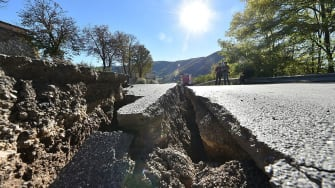 Earthquake damage in Norcia, Italy