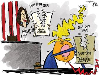 Political Cartoon U.S. Trump Nancy Pelosi State of the Union speech constitution ripped