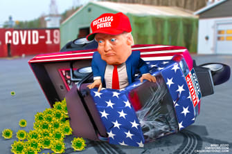 Political Cartoon U.S. Trump reckless driving 2020 election coronavirus crisis