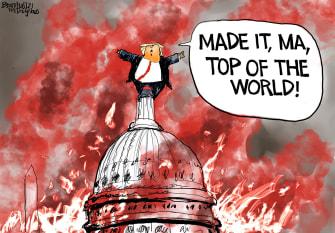 Political Cartoon U.S. Trump Capitol mob violence riot