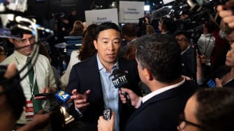 Andrew Yang speaks to reporters after the second Democratic Presidential debate in Miami, Florida.