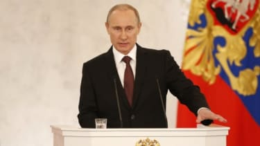 Putin addressing Federation Council