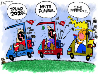 PoliticalCartoon U.S. Trump the villages racist retweet
