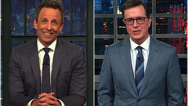 Stephen Colbert and Seth Meyers on Trump's polling