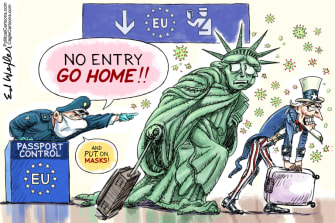 Political Cartoon U.S. Europe coronavirus travel ban