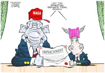 Political Cartoon U.S. Trump impeachment trial democrats GOP