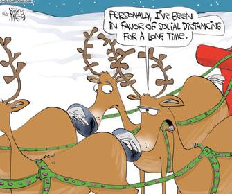 Editorial Cartoon U.S. Reindeer Santa Christmas social distancing COVID