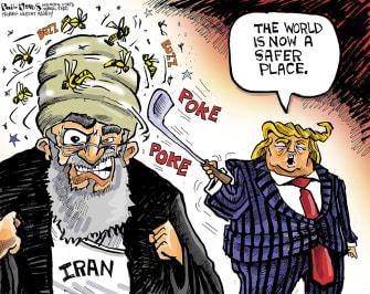 Political Cartoon U.S. Trump Iran war hornets nest