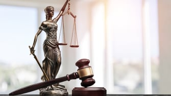 Lady Justice and the scales of justice.