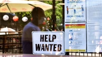 """""""Help wanted"""" sign."""