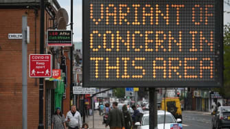 A billboard in Britain warning against a COVID-19 variant.