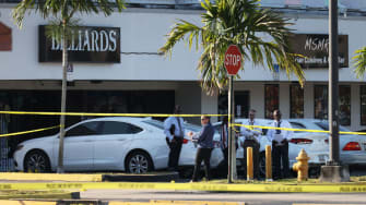 The scene outside of a venue in Florida where a shooting took place Sunday.