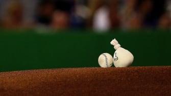 Baseball and rosin bag.