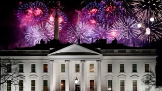 Fireworks explode over the White House.