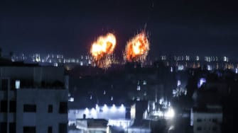 Explosions in Gaza early Wednesday morning.