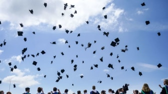 Flying graduation caps.