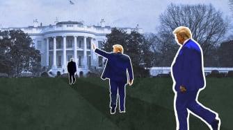 Trump walks to White House.